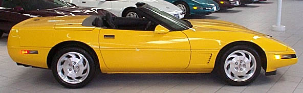 95 yellow convertible right side