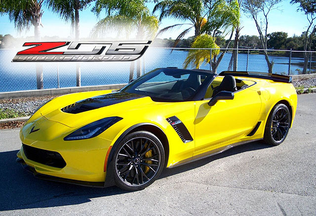 2016 Corvette Racing Yellow Z06 Convertible with only 35 Miles!